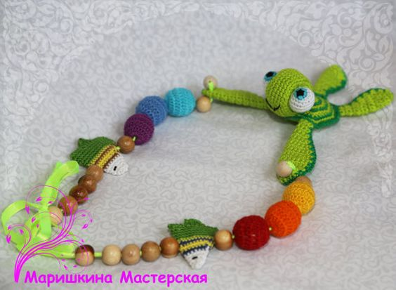Baby toy  Necklace with turtle  pleasant от SlingNecklaceAndToys