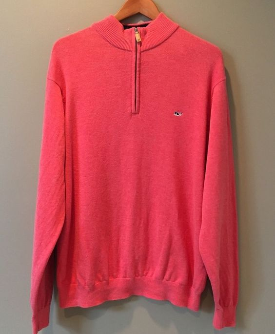 Vineyard Vines by Shep & Ian Coral Pullover Sweater Size XL Cotton Knit 1/4…