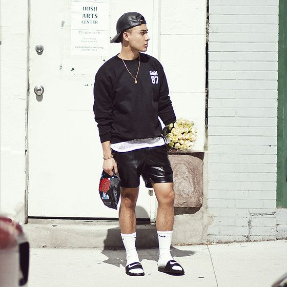 Image result for cute guy wearing adidas slides with socks