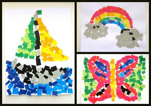 Mosaicos de papel, una divertida idea para pasar la tarde.
