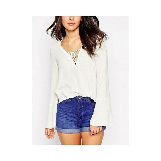 Women Lace Up Falre Sleeve Split Chiffon Blouse (€9,90) ❤ liked on Polyvore featuring tops, blouses, blouses & shirts, white, v neck long sleeve shirt, long sleeve collared shirts, bell sleeve shirt, collared shirt and long sleeve shirts