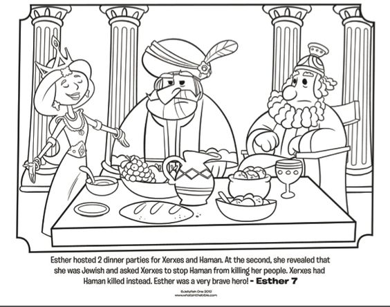Dinner parties Queen esther and Bible coloring pages on