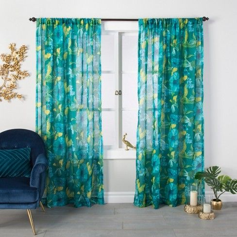 Indochic Floral Sheer Curtain Panel Bluff Green Opalhouse