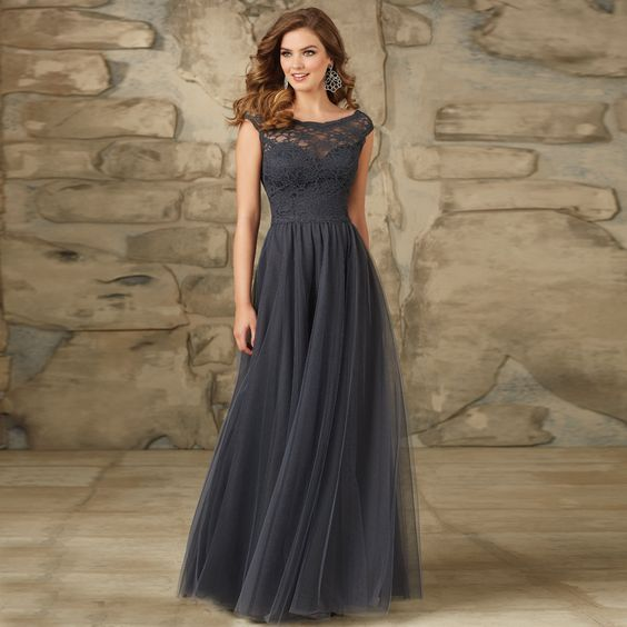 A-line Good Quality Scoop Neck lace Cap Sleeves Tulle and Satin Bridesmaid Dress Long 2015 Winter Style