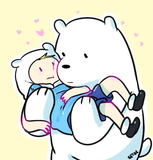 Adventure Time crossover We Bare Bears, ice bear and finn the human