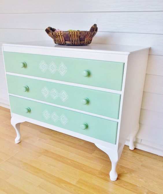 Upcycled Queen Anne French Provincial Dresser Stenciled