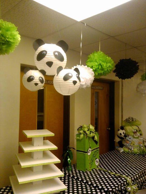 Panda lanterns, cake stand, card box, and diaper cake for panda baby shower