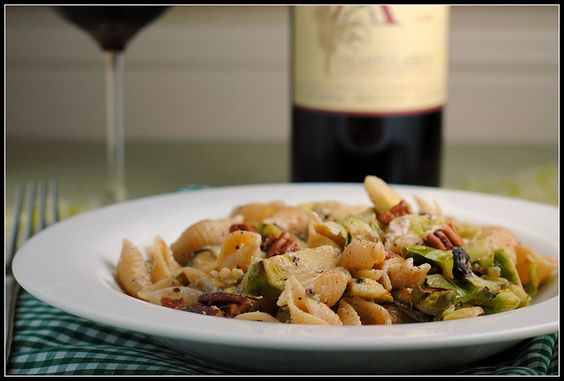 pasta with brussels sprouts, gorgonzola, and pecans