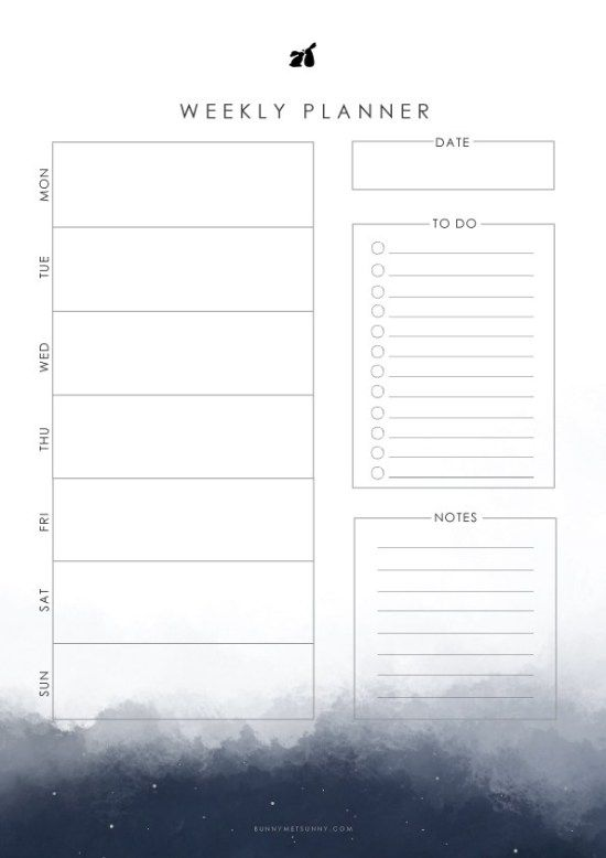 Night Sky Theme 1 Printable Planner 2019 Weekly Planner Free