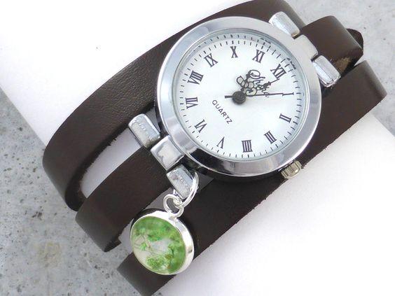 ECHTE Blüte Echt-Leder Armbanduhr von MissMaryClaire Schmuckmanufaktur // Pure // Natural // Designed // Handmade      auf DaWanda.com