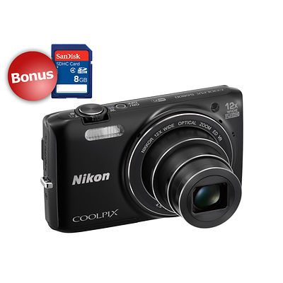 """The black COOLPIX S6800 digital camera from Nikon is a compact point-and-shoot camera featuring a 16MP 1/2.3"""" CMOS image sensor for sharp, high-resolution shots. The camera offers an ISO sensitivity of 100-6400 for shooting in low-light environments. The included Zoom-NIKKOR glass lens with a 12x optical zoom provides a 35mm-equivalent focal length range of 25-300mm, covering wide-angle to extended telephoto perspectives. When the light gets too low, the built-in flash ensures you'll get…"""