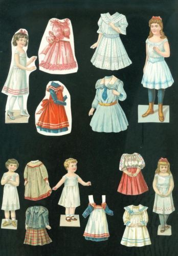 5 Cut German Embossed Young Girl Paper Dolls w Outfits | eBay