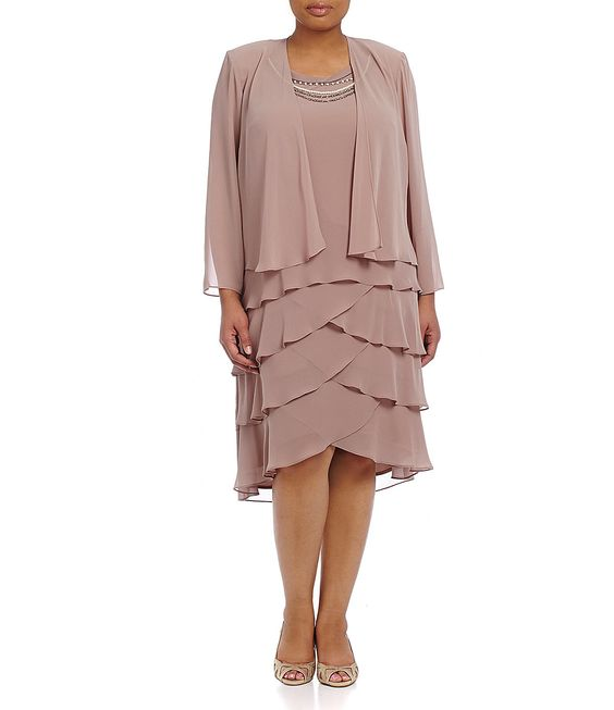 S.L. Fashions Plus Tiered Necklace Jacket Dress | Dillards.com