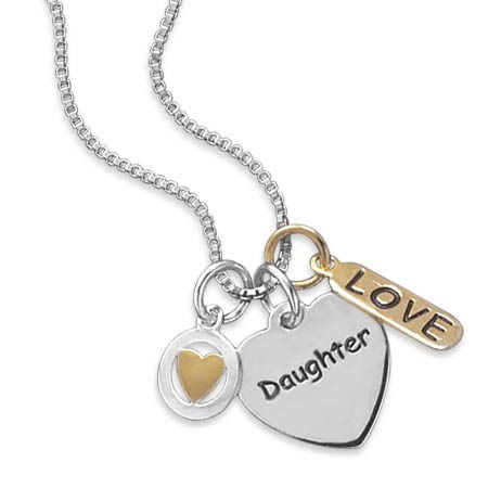 "16"" Rhodium Plated Necklace with Hearts and Love Charms from Charm Me Tonight"