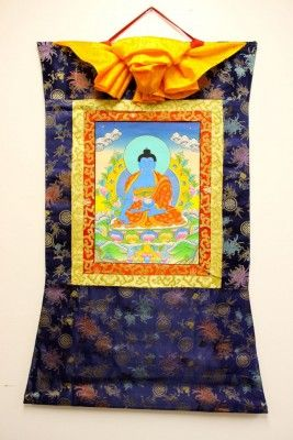 Exceptionally Hand  Painted Framed Medicine Buddha