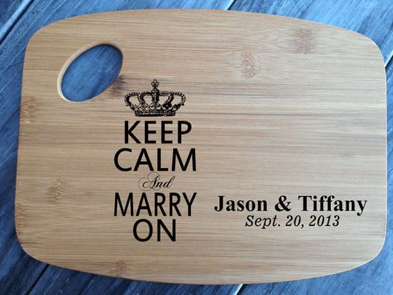 Keep Calm and Marry on engraved cutting board by customcoinrings