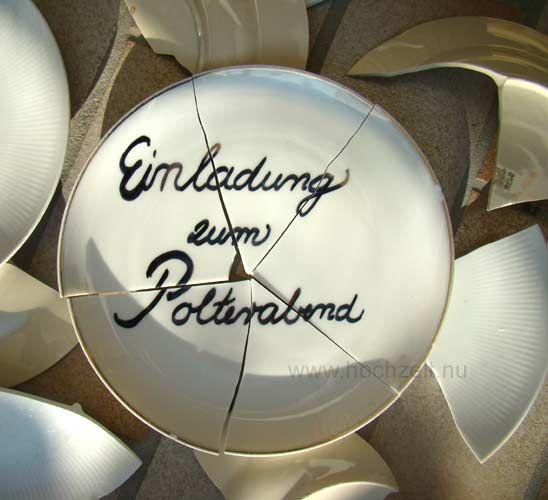 Einladung polterabend creactive pinterest deutsche for Geschenk polterabend