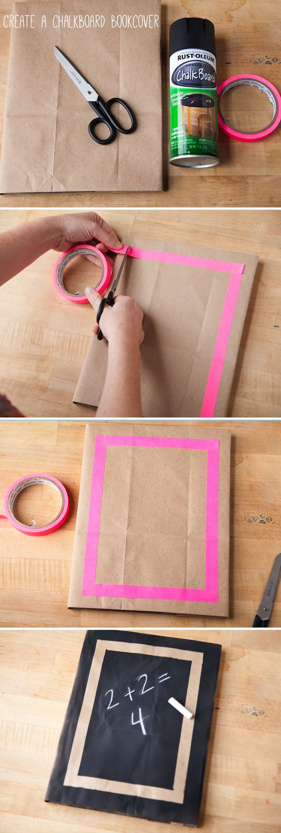 Cool Book Covers For School : Make a chalkboard book cover for back to school this makes