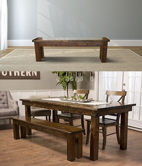 Farmhouse Dining Bench 72 L Dark Walnut Stain Farmhouse