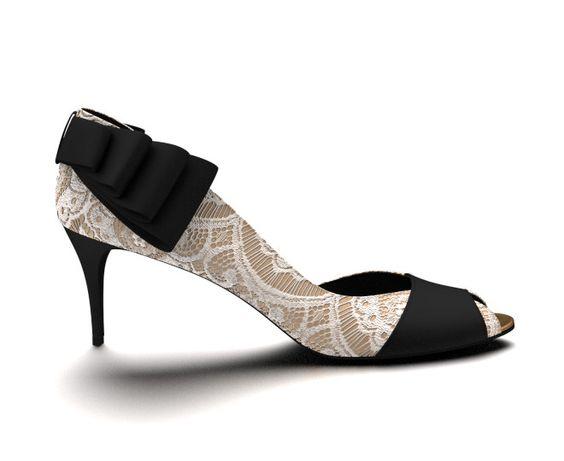 "#3 design Shoes of Prey. 3"" stiletto, back ruffle, lace overlay, gold & black silk."