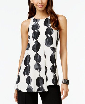 Alfani PRIMA Printed Double-Layer Top, Only at Macy's - Tops - Women - Macy's