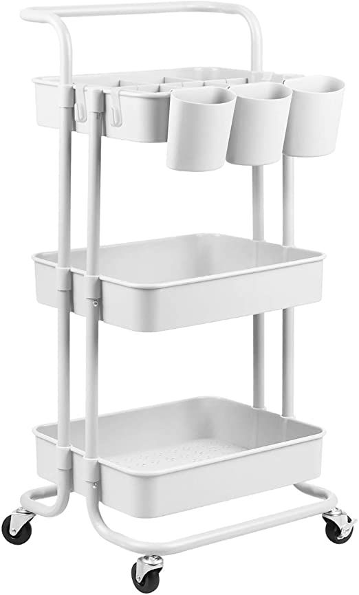 Amazon Com Alvorog 3 Tier Rolling Utility Cart Storage Shelves Multifunction Storage Trolley Service Cart W Rolling Utility Cart Movable Storage Utility Cart 3 tier cart with wheels