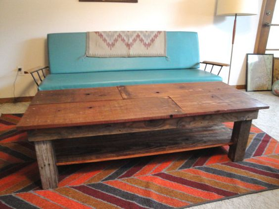 SAWTOOTH Custom Handmade Reclaimed Wood Coffee Table with shelf sample on Etsy, $365.00