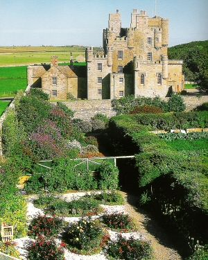 [Castle of Mey] (former Barrogill Castle), located in the remote area of Caithness in Scotland and perched above the ground of 400 yards from the seashore overlooking the beautiful island of Orkney