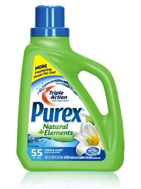 Purex Triple Action Natural Elements liquid detergent - Linens & Lilies: Green doesn't mean you have to compromise on clean.#mypurexfavorites