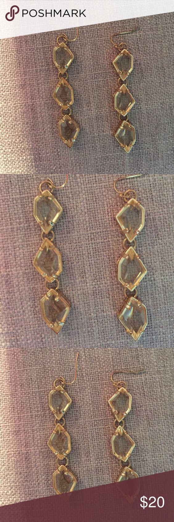 Cache gold /crystal earrings Perfect condition no damage. They are from the store cache they retail for $60 Cache Accessories