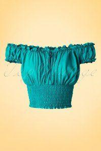 Bettie Page Clothing La Fiesta Off shoulder Jade Green Top 10 40 17330 20160503 0003W