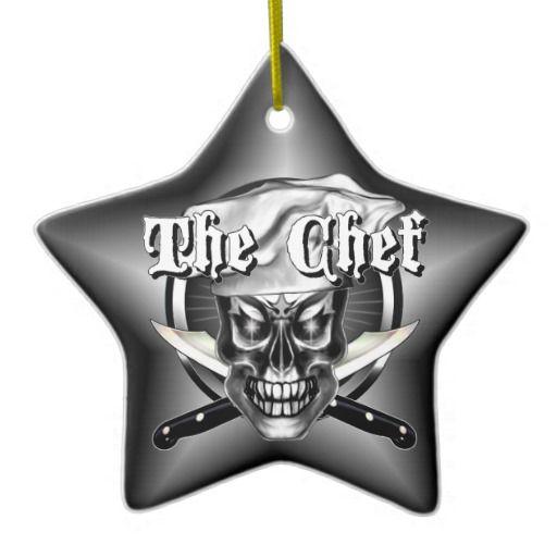 Chef Skull Ornament by sdesiata, @ www.zazzle.com/thechefshoppe*