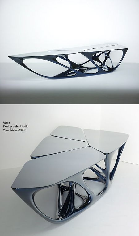 mesa geometric coffee table designed by zaha hadid