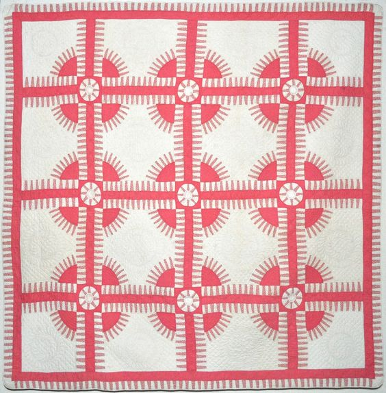 1930's pink and white New York Beauty quilt, collection of Bill Volckening at Wonkyworld