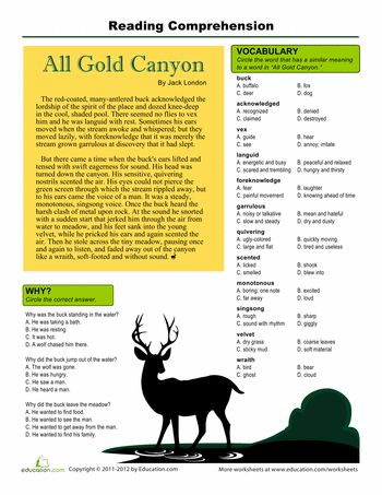 Printables Reading Comprehension Vocabulary Worksheets reading comprehension all gold canyon london and worksheets 5th