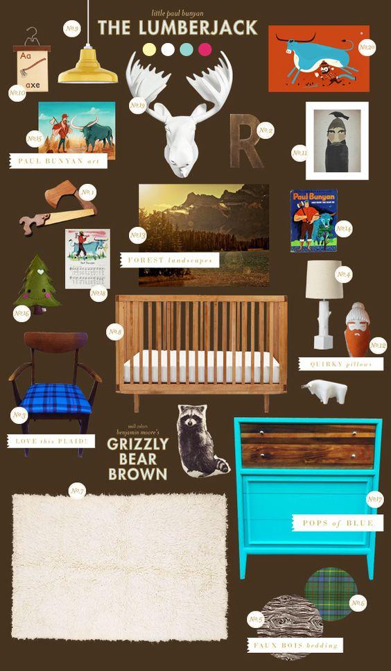 paul-bunyan baby nursery inspiration style board via lay baby lay