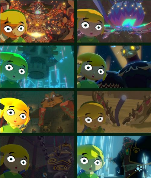 """The Legend of Zelda: The Wind Waker HD /  Toon Link, Gohma, Kalle Demos, Gohdan, Helmaroc King, Jalhalla, Molgera, Puppet Ganon, and Ganondorf / """"this is my legacy"""" by bobacupcake on Tumblr"""