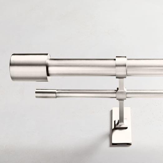 Oversized Metal Double Rod Brushed Nickel Polished Nickel