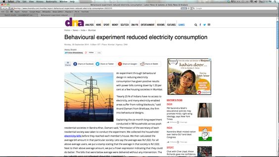 People Power - How Briefcase got people to reduce power consumption in DNA - 29th September 2014 - http://www.dnaindia.com/mumbai/report-behavioural-experiment-reduced-electricity-consumption-2022255