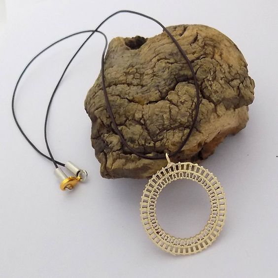 New Vermeil Gold Plated Filigree Charm Pendant Leather strand Necklace/ Leather…