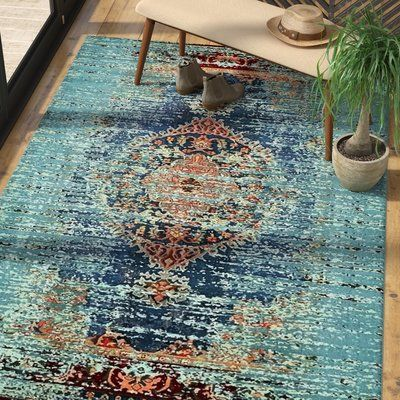 Mistana Glenn Abstract Power Loom Turquiose Rug Area Rugs Blue Boho Rug Rugs