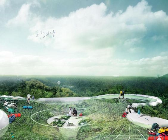 holy crap that is an amazing concept!!!  Yi Yvonne Weng's Explorative Canopy Trail is a conceptual design for an ecological research facility that would stay suspended in mid-air by a web of synthetic fibres and steel supports in a tropical jungle, allowing scientists to study and easily harvest the medicinal plants and live out of lightweight pod quarters in the canopy.