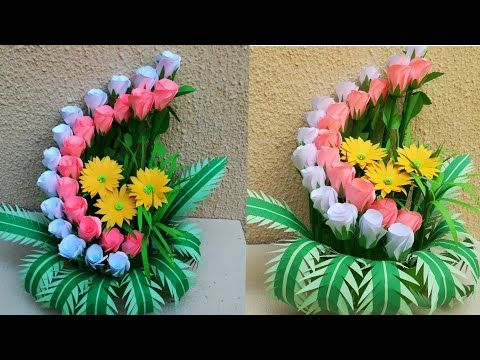 How To Make Paper Flower Bouquet Paper Flower Pot Diy Room