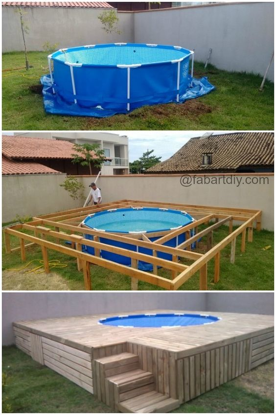 Diy outdoor floating swimming pool deck http www for Above ground pool decks made from pallets