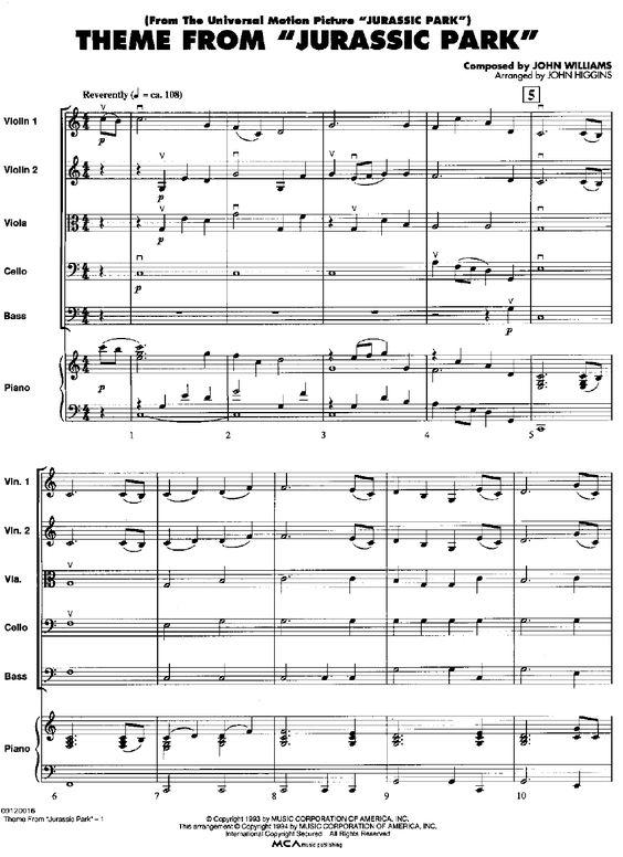 jurrasic park theme song sheet music viola | jurassic park theme sheet music Car Tuning
