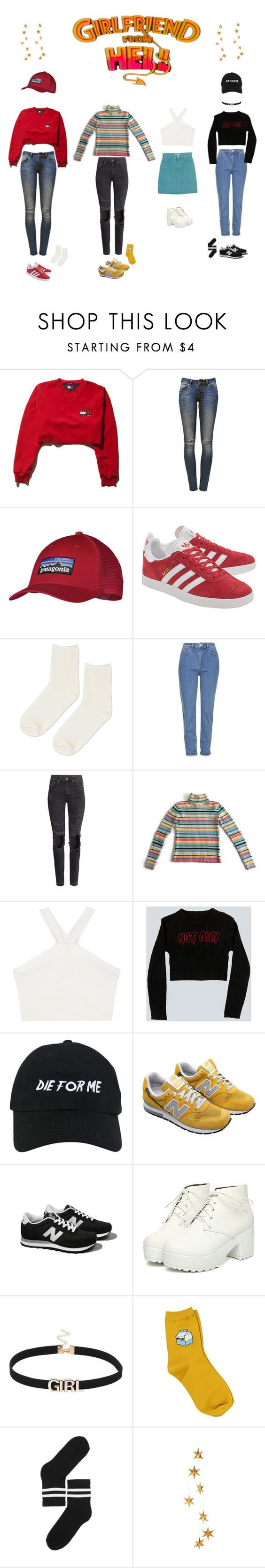 """""""girlfriend from hell!"""" by flowerofevil ❤ liked on Polyvore featuring Anine Bing, Patagonia, adidas Originals, Topshop, H&M, BCBGMAXAZRIA, GUESS, Nasaseasons, New Balance and Abercrombie & Fitch"""