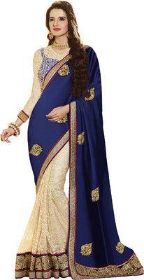 Bhavi Self Design Fashion Satin Sari - Buy Blue, Beige Bhavi Self Design Fashion Satin Sari Online at Best Prices in India   Flipkart.com