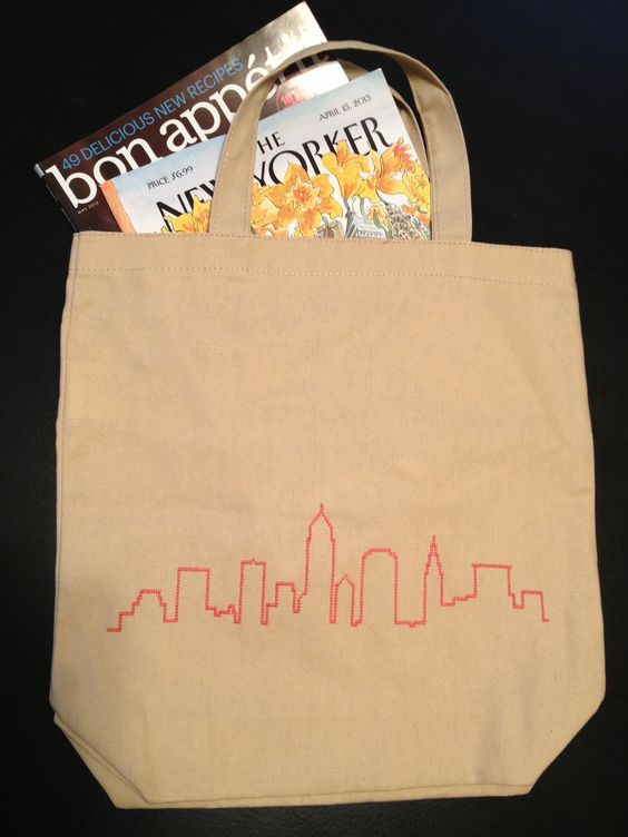 Cross stitch, Cleveland is the city, skyline, carry-all, homemade, reduce, reuse, recycle, tote, craft