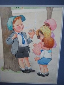 Twelvetrees postcards | ... ILLUSTRATION ART CHARLES TWELVETREES BOY SMOKES CIGARETTE W/GIRLS