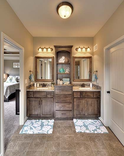 Double vanity cherry creek and bathroom double vanity on for Dark wood bathroom designs